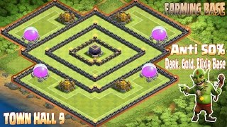 Coc Th9 Best Farming Base 2016. Town Hall 9 Anti 50% Dark, Elixir, Gold Base Clash Of Clans