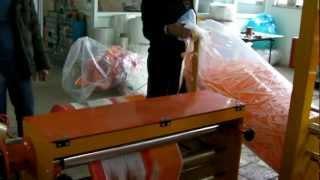 видео: Аппарат для складывания по полам со сворачивание в рулон-,пленка PE