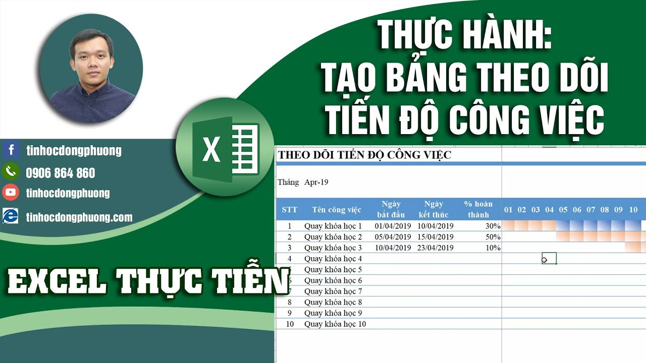 Thực hành Lập Bảng Theo Dõi Tiến Độ Công Việc Trên Excel | Excel Thực Tiễn