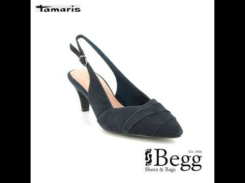 26e212f5b83 Tamaris Fatsia Sling 29616-32-805 Navy suede Slingback Shoes - YouTube