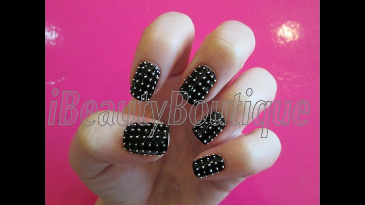Black Studded Rock Chick - Nail Art | iBeautyBoutique - YouTube