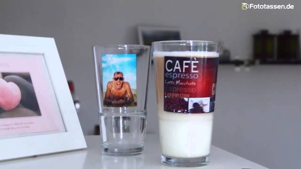 latte macchiato glas bedrucken und selbst gestalten youtube. Black Bedroom Furniture Sets. Home Design Ideas