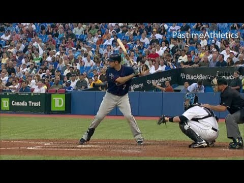 Joe Mauer Slow Motion Best Baseball Swing in MLB - Hitting Mechanics Video Clip Twins