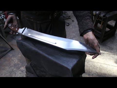 Forging a monstrous Bowie sword.