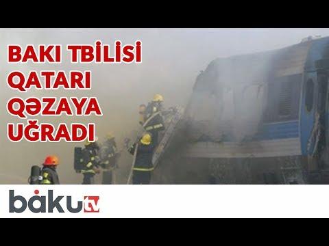 Տեսանյութ.  Բաքու-Թբիլիսի գնացքի վրա սյուն է ընկել. Հրդեհ է սկսվել