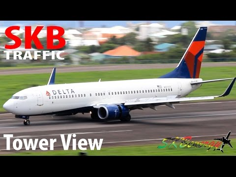 Tower View Action !!! Delta 737, American 737, British Airways 777, AA A319...@ St. Kitts Airport