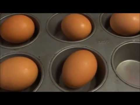 Baking Hard boiled eggs in the oven inside muffin pans - YouTube