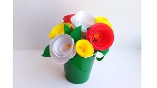 Поделки своими руками. Букет роз из бумаги. Цветы в подарок маме или бабушке.