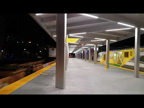 A late evening FEC Train passes through the WPB Brightline Station 01/09/18