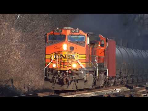 Thumbnail: Two BNSF Pumpkins Moving Thru St Denis