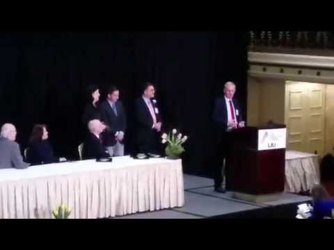 Glenn Greenwald and Laura Poitras receive The George Polk Award at Roosvelt Hotel New York