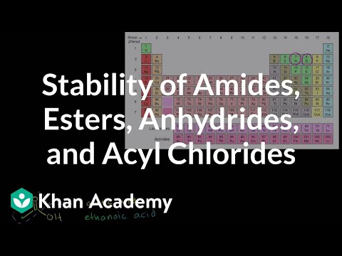 Relative stability of amides, esters, anhydrides, and acyl chlorides | Khan Academy