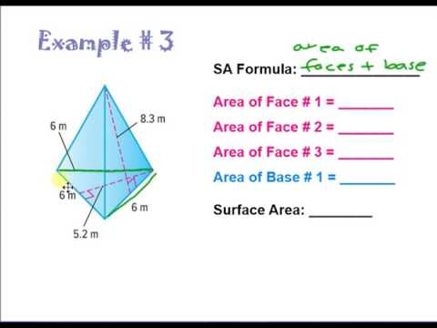 surface area of triangular pyramids youtube