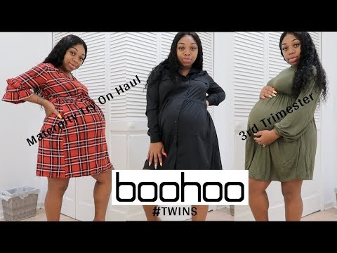 BOOHOO MATERNITY TRY ON HAUL | FALL EDITION | THIRD TRIMESTER WITH TWINS!!!