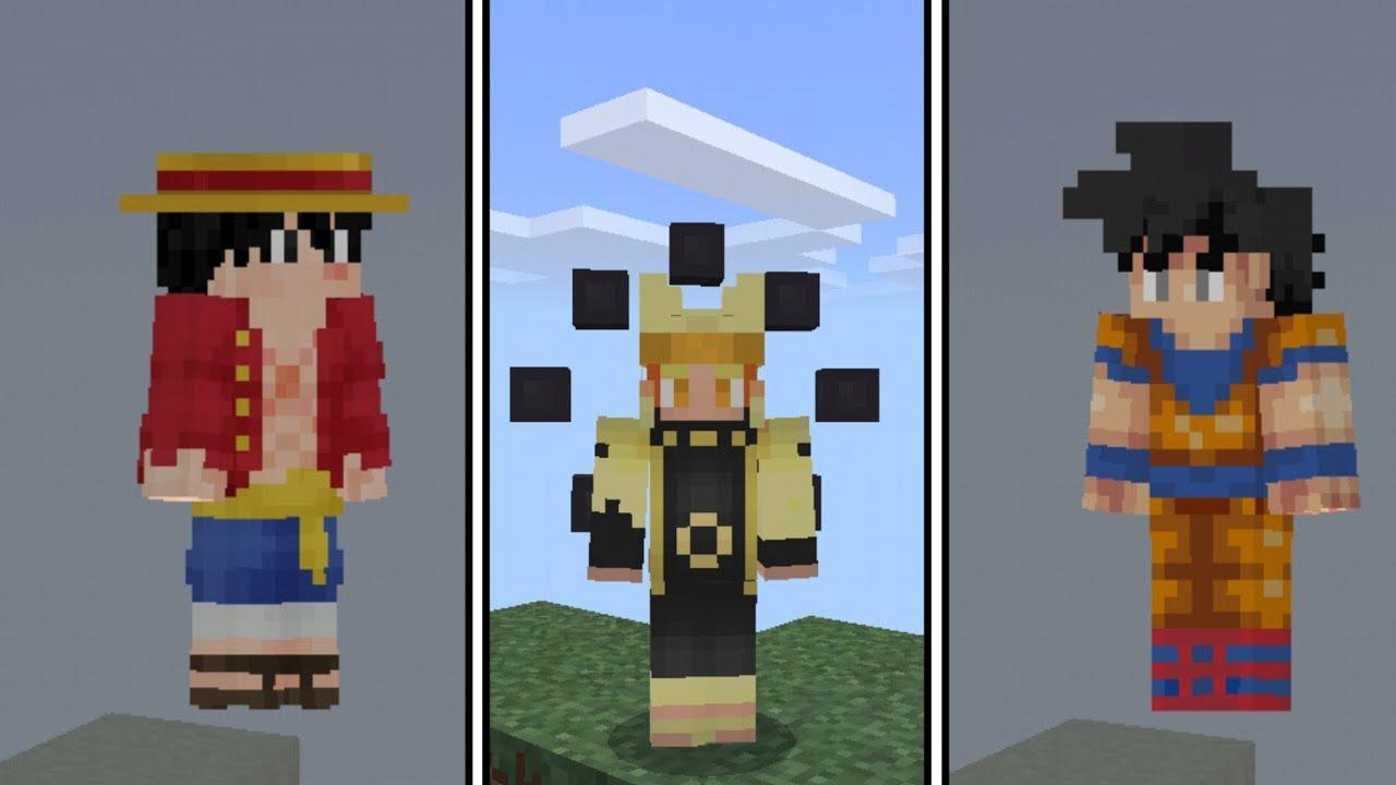 SAIU!! SKIN 8D ANIME, GOKU, NARUTO, TOKYO GHOUL NO MINECRAFT PE !  (Minecraft Pocket Edition)