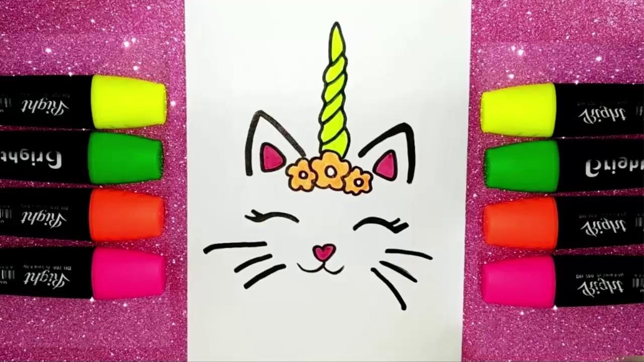 تعليم الرسم للأطفال رسم قطة يونيكورن كيوت Youtube