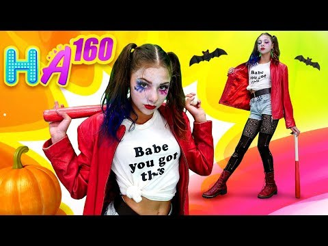 Hayal Ailesi. Polen Halloween Için Harley Quinn Makyajı Yapıyor. Eğlenceli Video