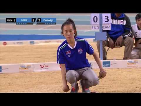 Pétanque: Finale championnat du monde 2017 - Tunisie vs Cambodge - femme - Tête à tête