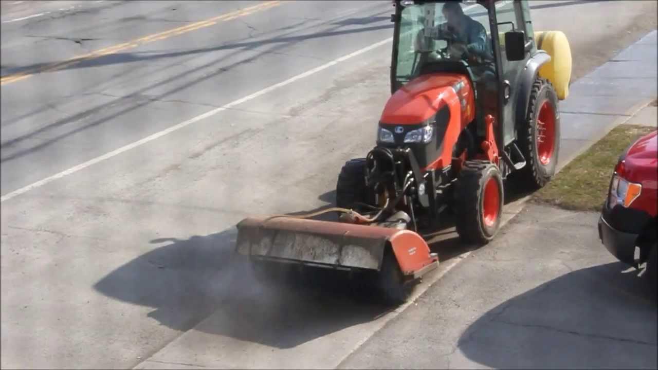 Street Sweeper Kubota M7040 Narrow 4wd Tractor Youtube