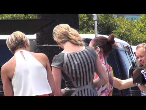Rebecca Romijn and Charissa Thompson filming