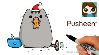 How to Draw Pusheen Gingerbread Man Cookie Easy