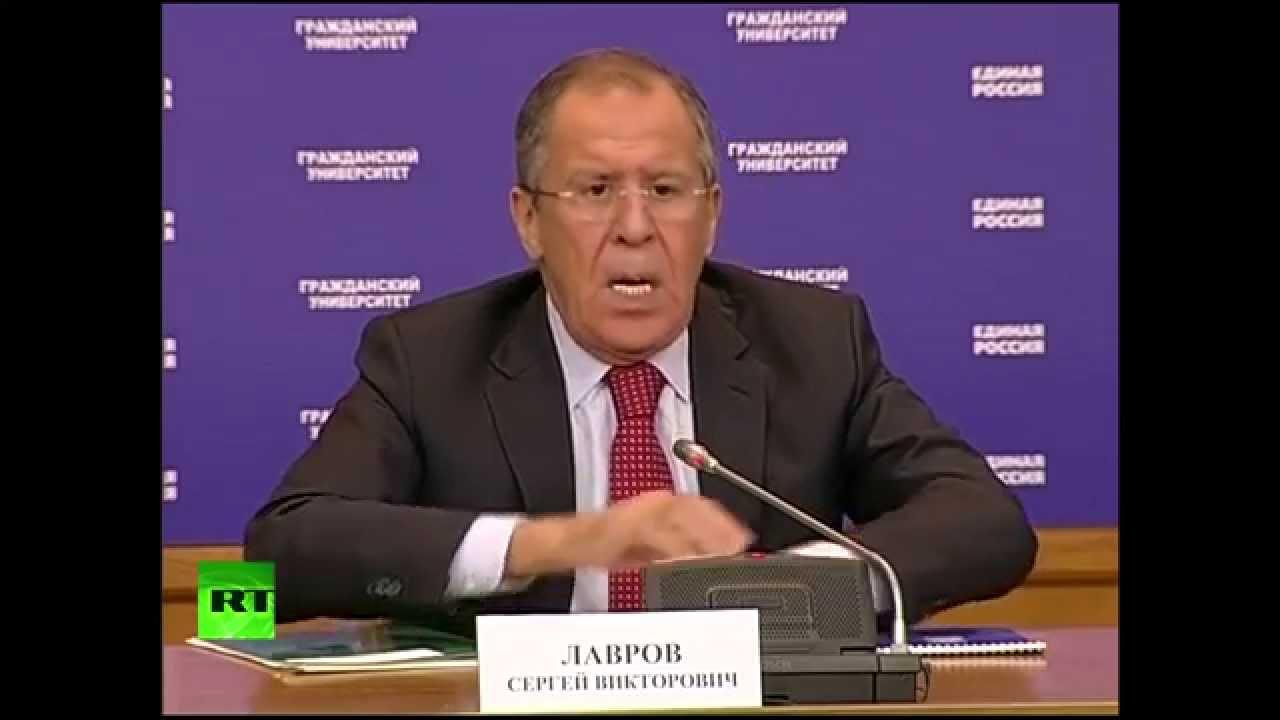 Сергей Лавров читает лекцию для сторонников «Единой России»