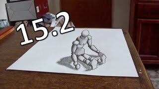 Drawing a wooden mannequin - Anamorphic Illusion