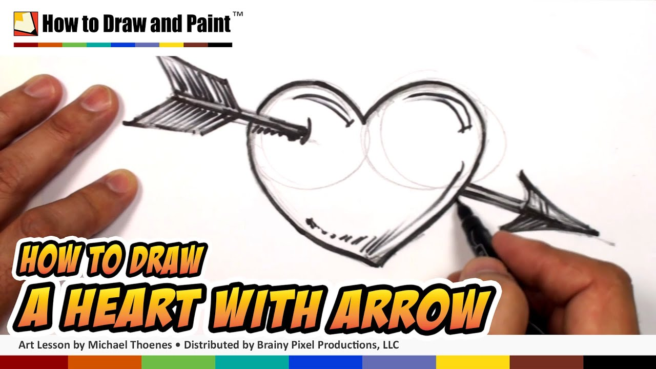 how to draw a heart with arrow heart drawing lesson art for kids