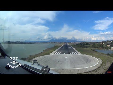 Boeing 737-800 Cockpit landing at Corfu CFU/LGKR - 737Aviation