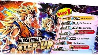 AMAZING LUCK!!! Black Friday Step-Up Summons! NEW Goku Black, SSJ3 Goku, & Majin Vegeta: DB Legends