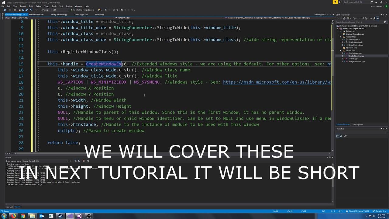 C++ DirectX 11 Engine Tutorial 3 - Creating a Window