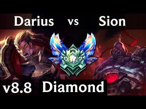 DARIUS vs SION (TOP) ~ Quadrakill, Legendary, 800+ games, KDA 10/2/5 ~ NA Diamond ~ Patch 8.8