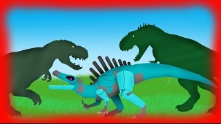 Dinosaurs Cartoons Battles: Red Eye King vs Iron Claw (spinosaurus) vs Vastatosaurus Rex