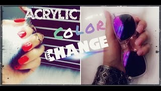 How To Color Change On Acrylic Nails At Home Demo