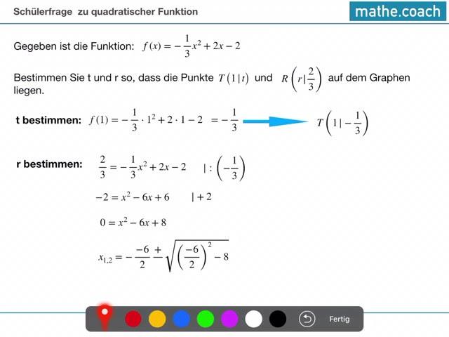 Schülerfrage zu quadratischer Funktion