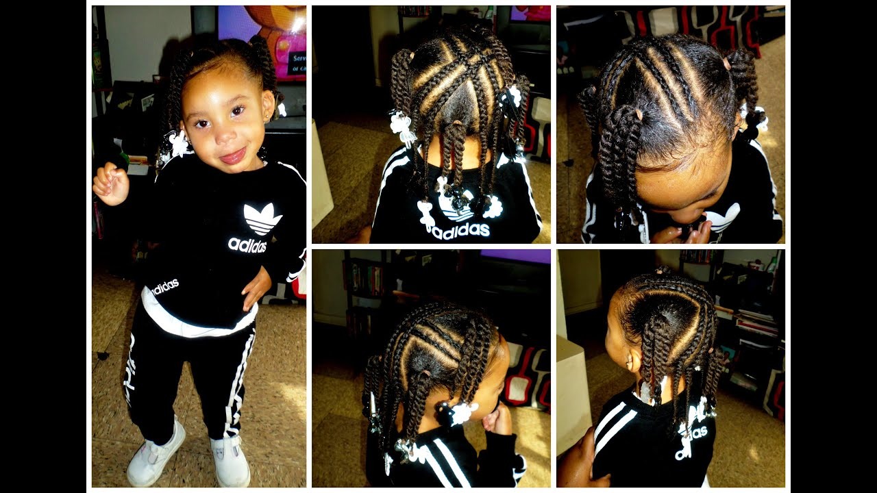 ToddlerKid Style 4 X Braids 4 Ponytails wTwists  YouTube