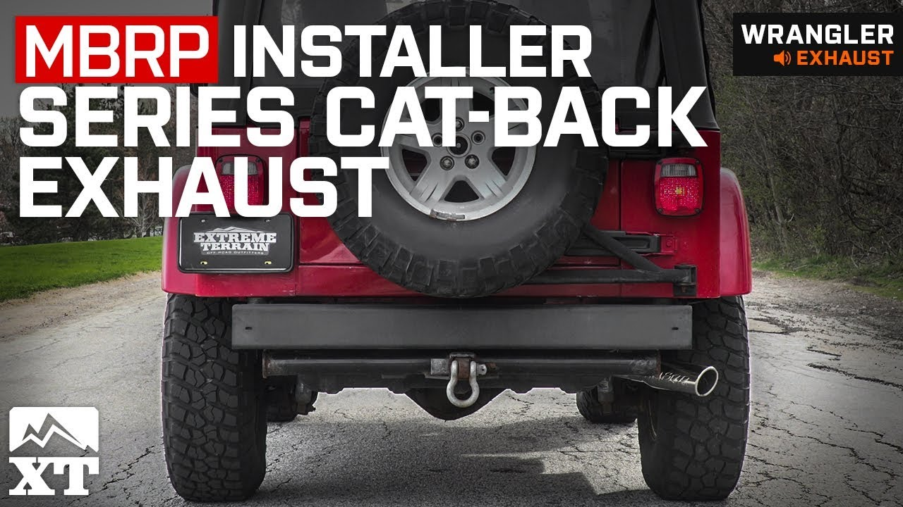 mbrp installer series cat back exhaust 00 06 jeep wrangler tj excluding unlimited