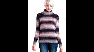 Двухцветный Джемпер Спицами для Женщин - 2019 / Two-color Sweaters For Women