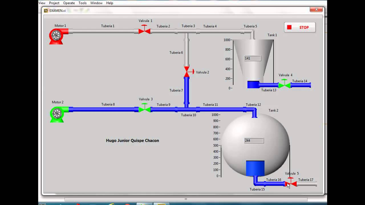 SCADA in LabVIEW - Level control 2 water tanks by IndVIEW
