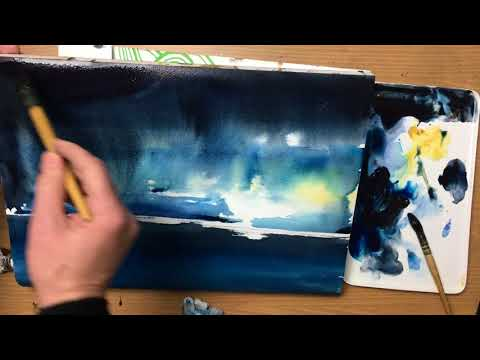 Dark and light Watercolor painting tutorial demonstration