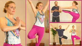 Improve Your Balance in Yoga Class, Tree Pose, Extended Hand to Foot, Standing,