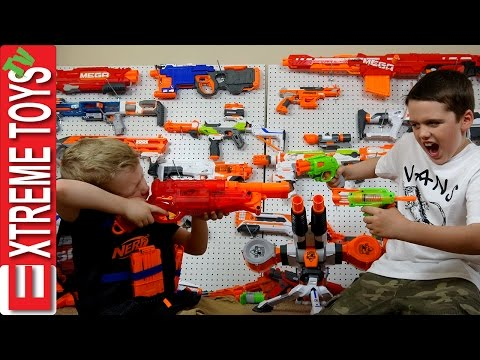 Thumbnail: Full Nerf Gun Toy Arsenal Attack! Ethan with the Nerf Mastondon Vs. Cole with the Nerf Rhino Fire