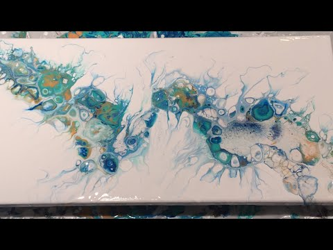 (55) Acrylic Pour: Flip and Drag with Gold, Aqua Green and Pthalo Blue