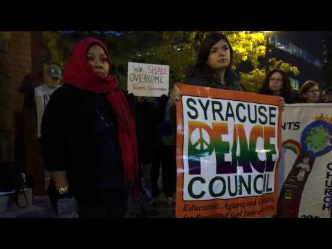 More than 100 people gathered at a protest Wednesday in Clinton Square following…