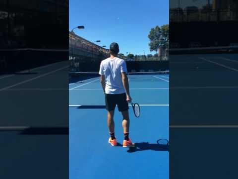 Backcourt view Federer practice Melbourne park