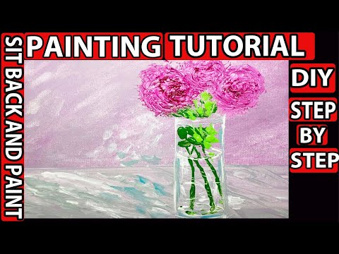 DIY canvas painting transparent Glass vase and Pink flowers acrylic painting tutorial