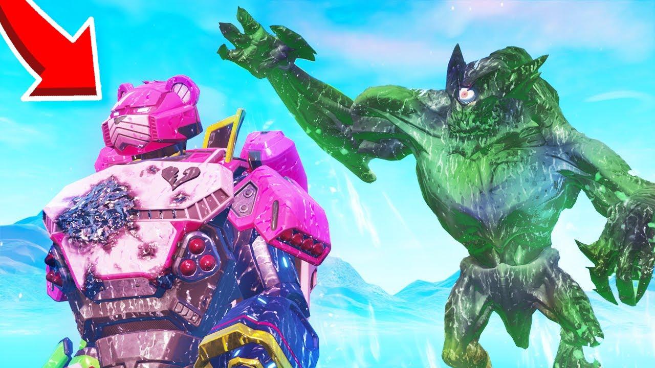 Le Combat Du Monstre Et Du Robot Sur Fortnite Youtube