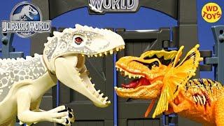 new jurassic world hybrid dilophosaurus rex vs indominus rex t rex unboxing