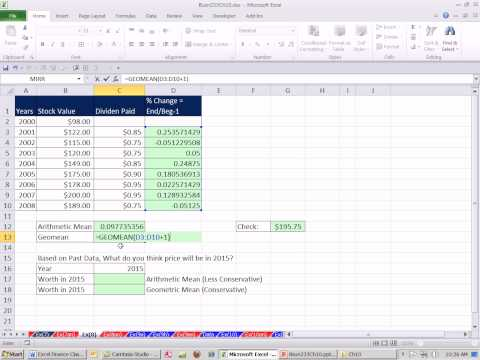 Excel Finance Class 97: Using Geometric Mean & Arithmetic Mean to Estimate Future Returns
