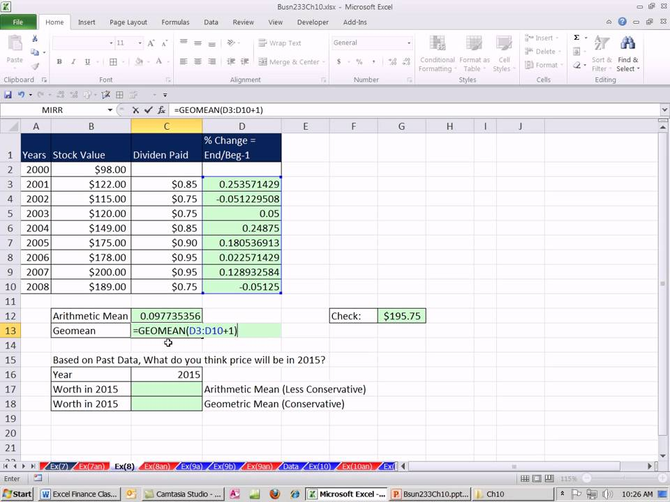 Excel Finance Class 97 Using Geometric Mean  Arithmetic Mean to